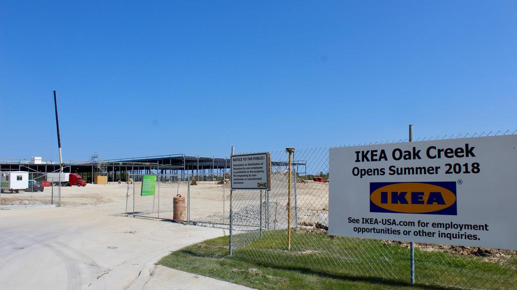 Ikea begins installation of blue exterior panels at Oak Creek store    Milwaukee   Milwaukee Business Journal. Ikea begins installation of blue exterior panels at Oak Creek