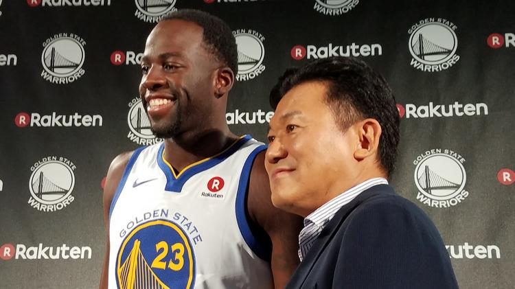 Golden State Warriors star Draymond Green poses with Hiroshi