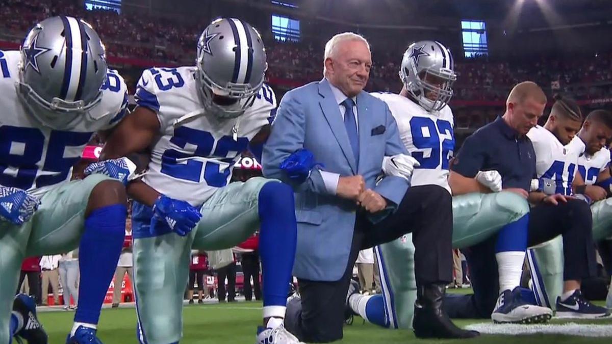Dallas Cowboys Owner Jerry Jones Kneel Before National Anthem At Arizona Game Phoenix Business Journal