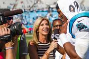 Carolina Panthers quarterback Cam Newton is interviewed after the game.
