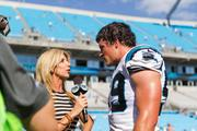 Carolina Panthers linebacker Luke Kuechly is interviewed after the game.