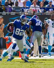 New York Giants wide receiver Rueben Randle returns a punt. The Panthers beat the Giants 38-0 in a Sept. 22, 2013, regular-season game at Bank of America Stadium in Charlotte.