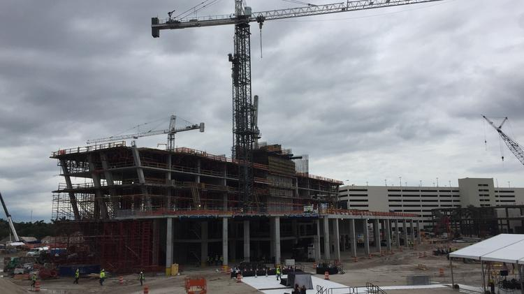 Construction of a guitar-shaped hotel is underway at the Seminole Hard Rock Hotel & Casino in Hollywood.