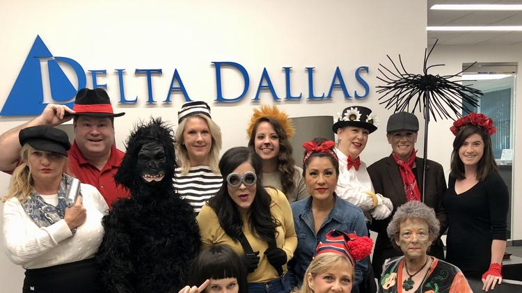 Staffing agency Delta Dallas canu0027t disguise their love for Halloween costumes.  sc 1 st  The Business Journals & DFW offices show off their Halloween costumes - Dallas Business Journal