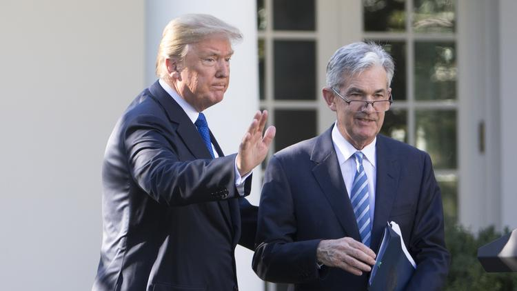 President Donald Trump with Jerome Powell, his nominee to chair the Federal Reserve, at a news conference in the Rose Garden of the White House on Thursday, Nov. 2, 2017.