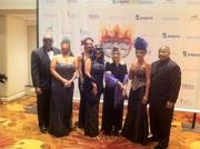 """The J.W. Marriott in the District was turned into Bourbon Street Feb. 12 when more than 350 guests attended the first United Negro College Fund scholarship fundraiser """"Masked Ball."""" Getting in on the theme were, from left, Tyree Jones Jr. of Reed Smith LLP with wife Melanie Jones, and Tala Shahlavi, Rana Wright, Olivia Shay-Byrne, Erika Martin and A. Scott Bolden, all of Reed Smith."""