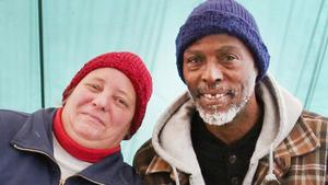 Bennie Jackson (right) and his wife Cindy Reese sit in their cozy, home-like tent at Camp United We Stand in Shoreline, Oct. 20, 2017. Jackson, who has suffered numerous heart attacks, says he came to Western Washington from Texas to get medical help at U