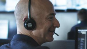 Jeff Bezos, founder of Blue Origin, tests communication systems before the first flight of the privately held space company's New Shepard space vehicle.