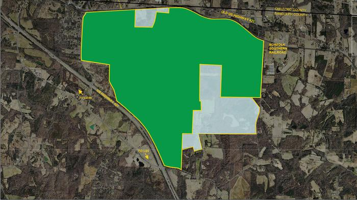 An updated map of the Triad megsite. The areas highlighted in gray have been rezoned,bringing the total acreage to about 1,900.