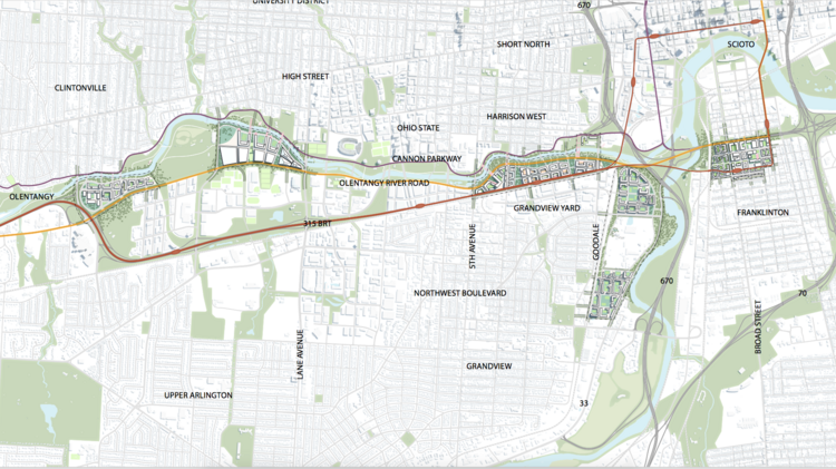 NBBJ imagines a wholesale re-build of Ohio Route 315 to open development along the river.