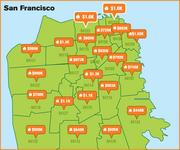 This map shows median home prices in San Francisco by ZIP code.