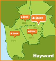 This map shows median home prices by ZIP code in Hayward.