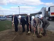 Breaking ground for Gordon in Findlay (from left): Scott Hicks, senior manager of supply chain management at Gordon; Allegheny County director of economic development Dennis Davin; Brooks Robinson, southwest regional director of the governor's action team; Gordon Ohio Valley Division GM Jerry Cagle and Gordon's Bill Henderson.
