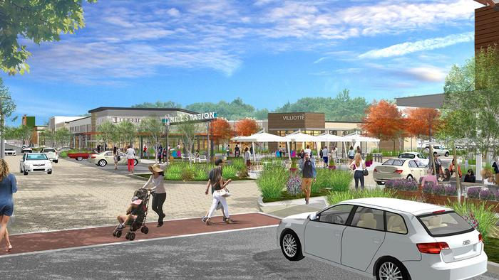 An artist's rendering of the planned Mill Station development on the former Owings Mills Mall site.