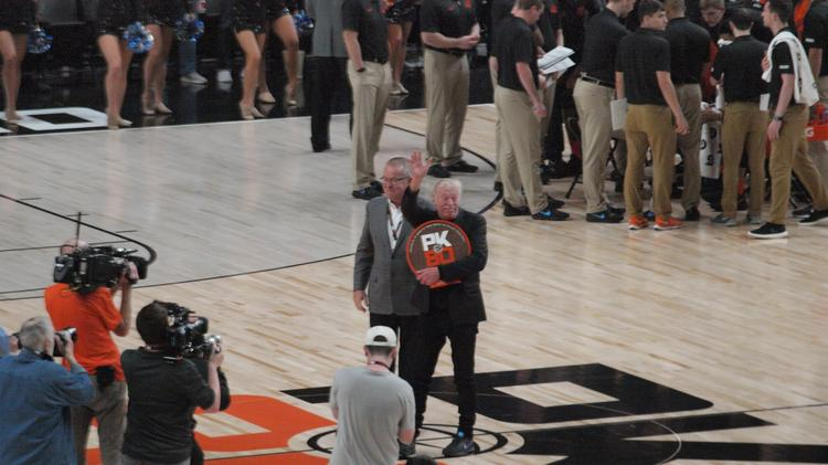 4d1ad75c6a31 Phil Knight acknowledged fans at last year s PK80 college basketball  tournament
