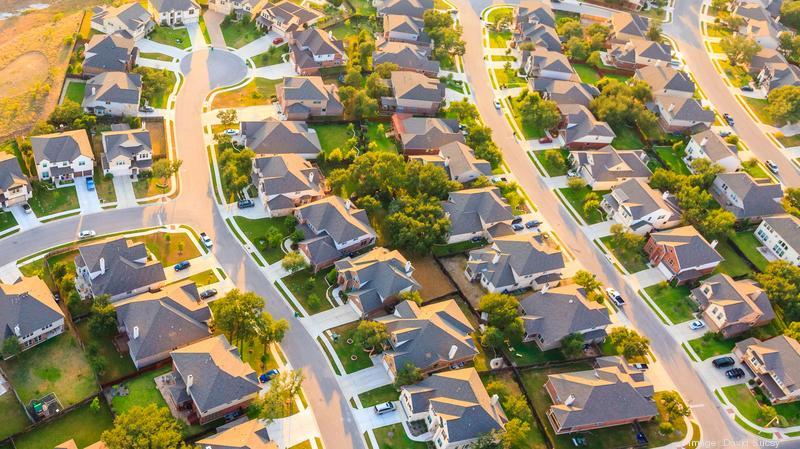 aerial view of suburban Austin Texas