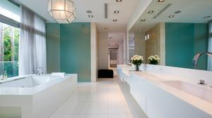 The bathroom at 6396 North Bay Road in Miami Beach.