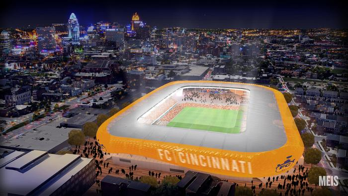 A rendering of FC Cincinnati's stadium in the West End, viewed from the north with the downtown skyline in the background.