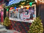 VIPs celebrate opening of a holiday-themed pop-up cocktail bar Tinsel