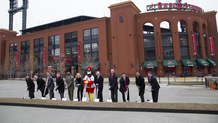 Members of the St. Louis Cardinals, The Cordish Companies and mayor Lyda Krewson at the Ballpark Village II groundbreaking ceremony on December 14, 2017 in St. Louis, Missouri.