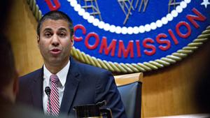 Ajit Pai, chairman of the Federal Communications Commission (FCC), speaks during an open commission meeting in Washington, D.C., U.S., on Thursday, Dec. 14, 2017. The FCC is slated to vote to roll back a 2015 utility-style classification of broadband and