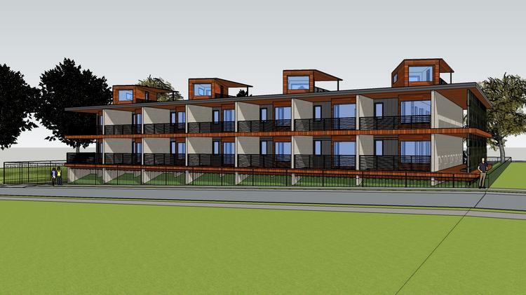 A Rendering Of Fred Spikner S 14 Unit Apartment Building Constructed Out Recycled Shipping Containers