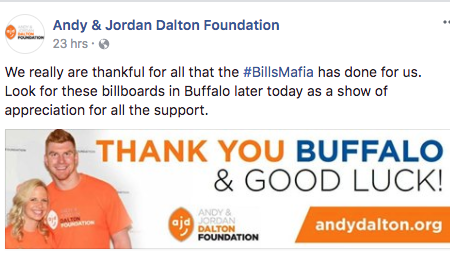 f7b1b6a43 The Andy & Jordan Dalton Foundation will express its thanks for  donations from Buffalo Bills
