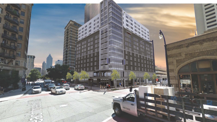 Renderings Of Le Investment Group S Planned Dual Branded Hotel In Midtown It Would Sit