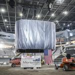 Contractors hoist massive scoreboard at new Milwaukee Bucks arena: Slideshow