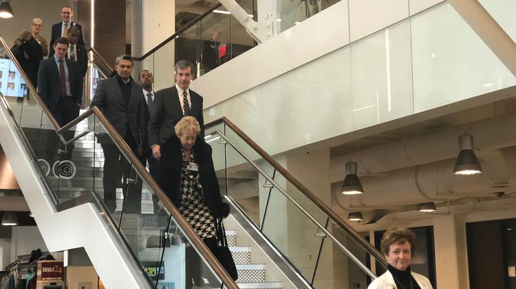 Gov. Roy Cooper toured Wake Forest Innovation Quarter in Winston-Salem. Also on the tour were Dr. Julie Ann Freischlag, CEO of Wake Forest Baptist Medical Center, and David Mounts, CEO of Inmar.
