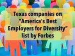 9 North Texas companies named on Forbes' new Best Employers for Diversity list