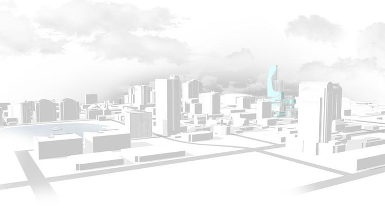 Rendering of the location of the proposed vertical medical city identified in blue.