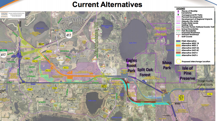 Osceola Parkway Extension alternatives
