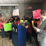 Airport workers demanding same deal as Bucks' employees