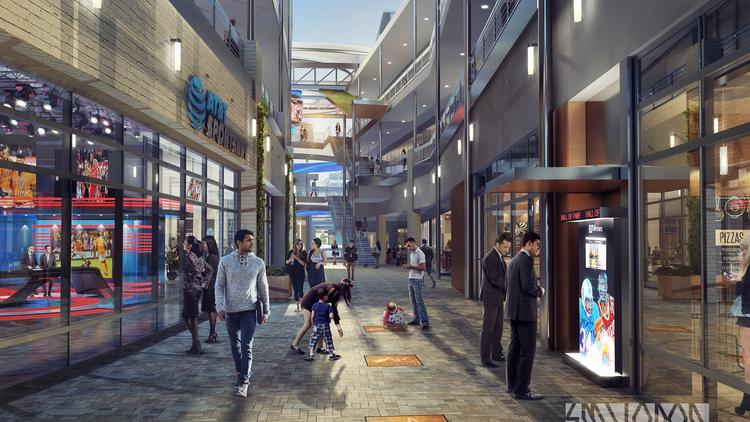 """The Houston Sports Hall of Fame's first phase — the """"Walk of Fame"""" — will start at the House of Blues and continue throughout GreenStreet. It will break ground this summer."""