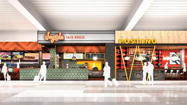 Rendering Of Upward Project S Joyride Taco House And Postino In Terminal 3 Phoenix Sky Harbor