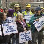 Dems rally with unions as Supreme Court hears pivotal case