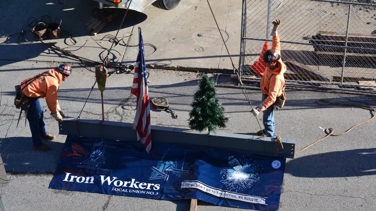 Iron Workers Local Union No  3 apprentices set final beam on $3 8M