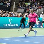 Photos: Bill <strong>Gates</strong>, Roger Federer play at celebrity charity tennis tournament at SAP Center