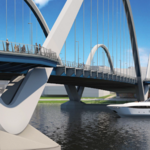 The future is dense on both sides of the new Frederick Douglass Memorial Bridge span