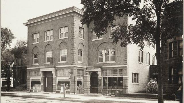 A historic photo of the Handicraft Guild building.