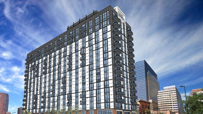 The 17-story tower is being built on the corner of 10th and Marquette Avenue.