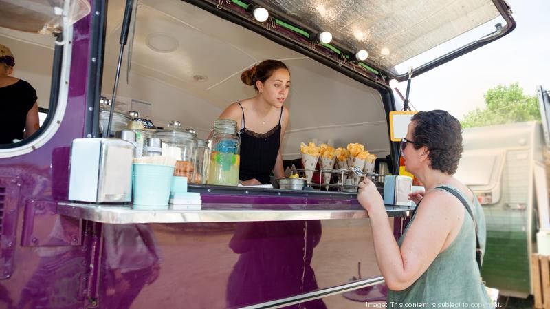 Customer on the food truck