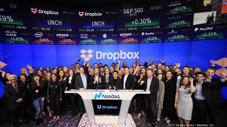 Shares Of Dropbox Nasdaq Dbx Soar 37 Percent On Its 1st Day Of