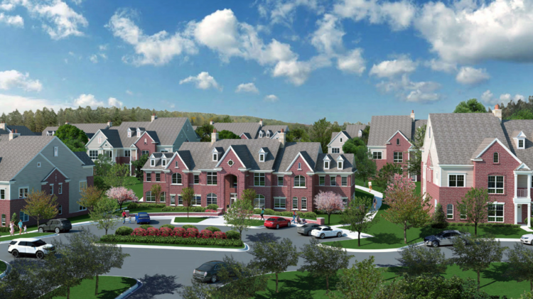 A Rendering Of A New Senior Living Community, Combined With Townhomes And  Apartments, Being