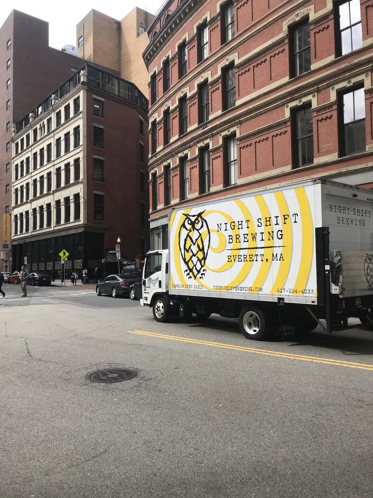 A Night Shift Brewing truck in Boston's Downtown Crossing.