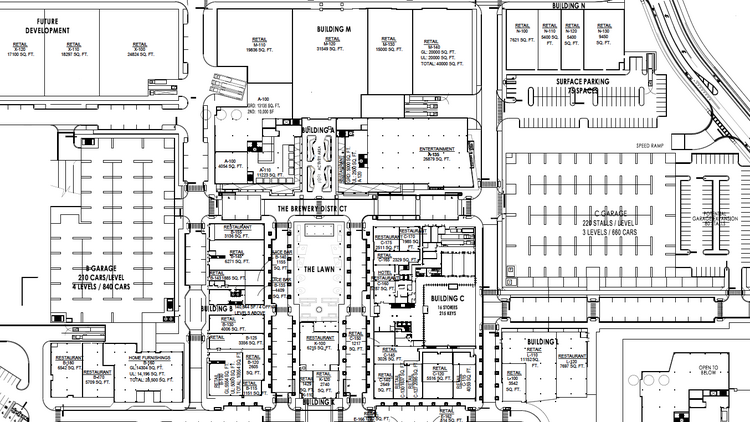Building B, the parking garage, can be seen on the left while Building N is on the upper right of the site plan.