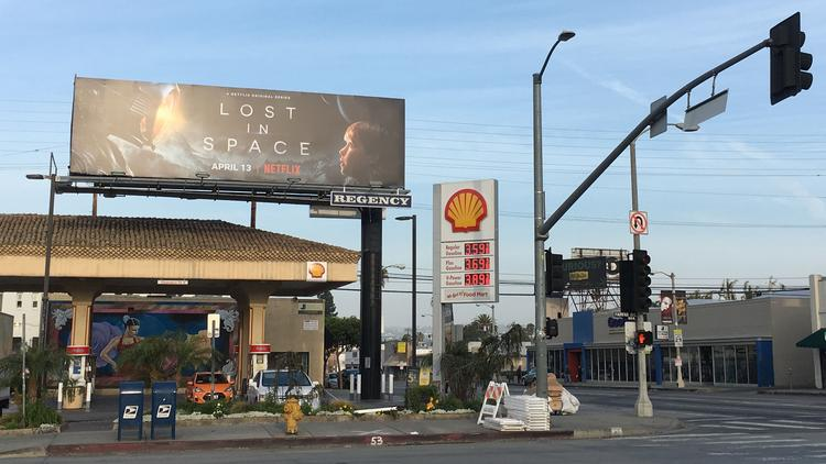 Netflix advertises its original programming on billboards throughout Los Angeles.