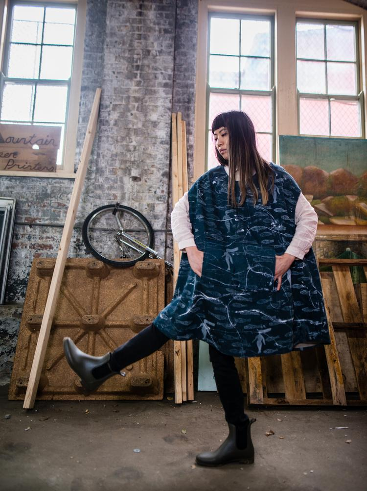 "Husband-wife Chris Johanson and Johanna Jackson designed ""Sea Being Capes,"" three-dimensional denim capes,  in collaboration with the Welcome Project for Welcome Edition #1."
