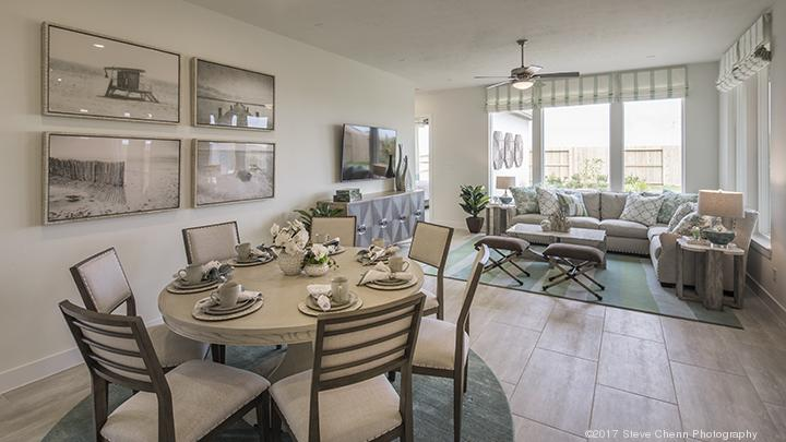 Good The Living And Dining Area Of A Model Home At The Reserve At Clear Lake.